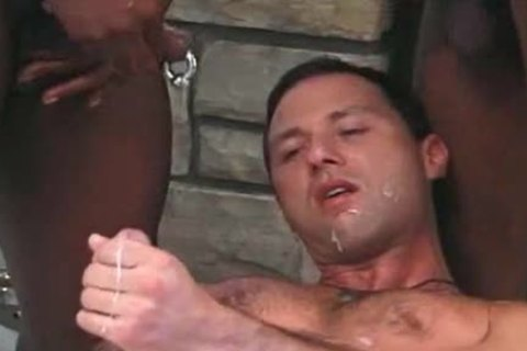 White man receives Served In Interracial 3some