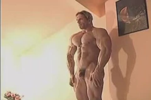 enchanting Muscle Hunk In Birthday Suit And Touching Himself