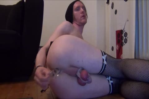 Sissy serf Cums Handsfree small rod In Chastity