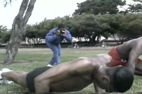 excited darksome dudes Assfucking After Workout At The Park