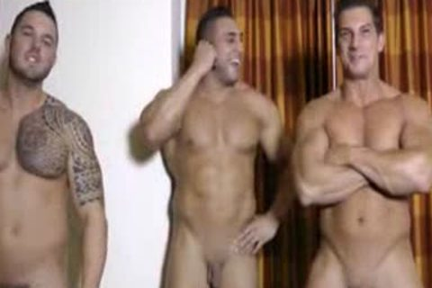 three Hunks stroking And Showering