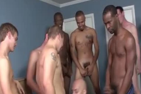 Interracial bunch Of Amateurs Have Bukkake Party