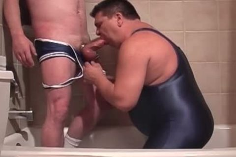 Pervy Lad Pissing In Boyfriend's Trap whilst that lad's BJing His Stiffed Tackle