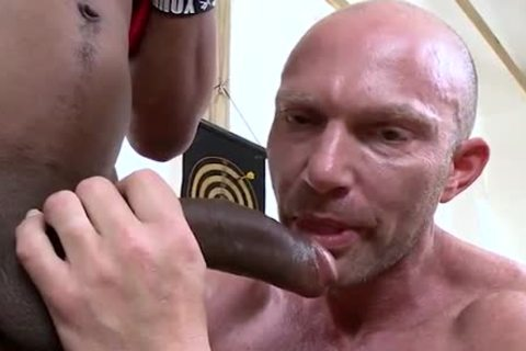 Bald White Muscle Hunk acquires Shafted By BBC