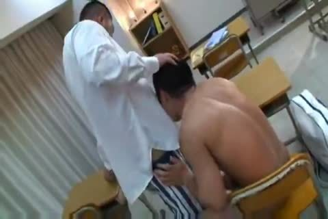 powerful asian Teacher And Muscle Student engulfing And nailing.