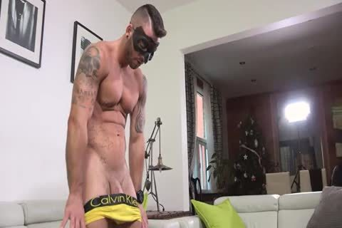 Ripped Masked lad Whips It Out And Plays