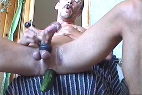 Jerk-off With A Firmly Inserted fake ramrod Or Cucumber (with Slow Motion Version In The Second Part)