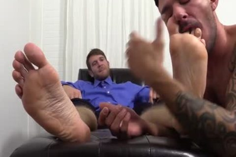 excited Colby Jerks Hard penis During Foot Worship From Johnny