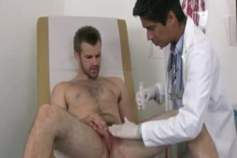 Businessman Examined By homo Male Doctor one time salute