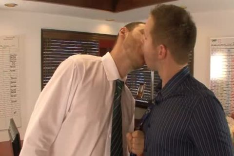 yummy homo males take up with the tongue And Hump booties In The Office