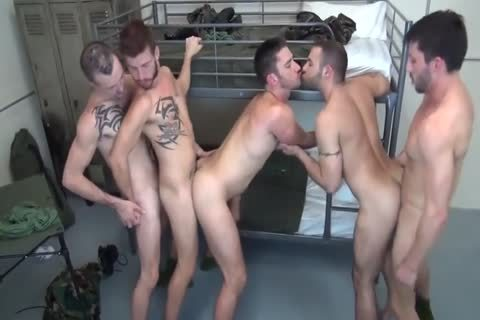 5 Military dudes bare Double bang In Barracks