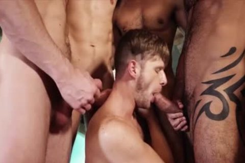 gorgeous homosexual guys threesome With ball cream flow