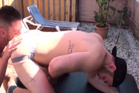 bushy Son butthole rimming With cumshot