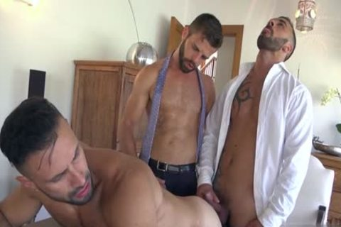 Muscle gay trio And ball batter flow