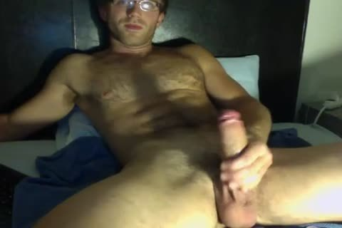sleazy twink In Glasses Jerks His big dick