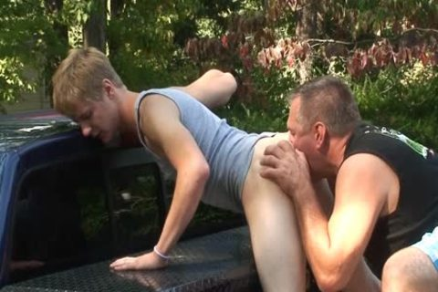 Daddy fucks Dillion raw Outside