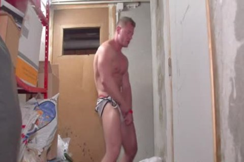 A lusty White muscular chap Stripping Dance
