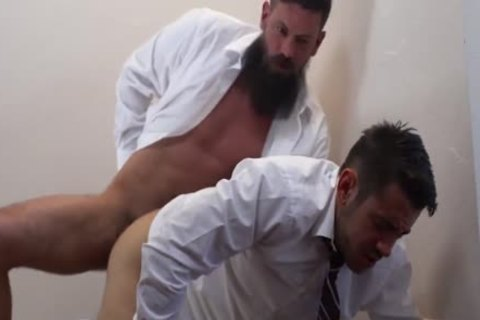 White cock thrusts into tight black ass