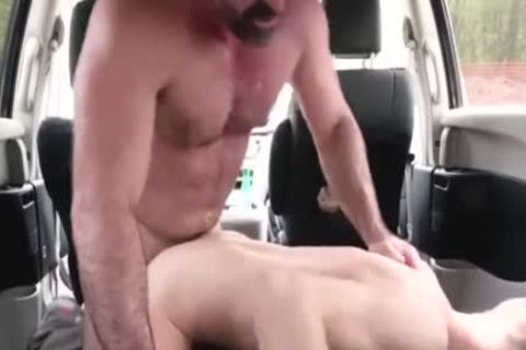 Son Takes large Daddy's penis In A Family Car - FA