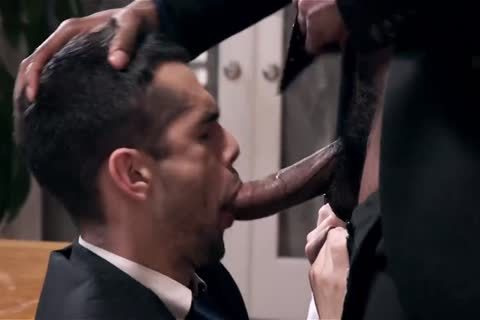 Giving Your darksome Boss A blowjob And Getting Barebacked
