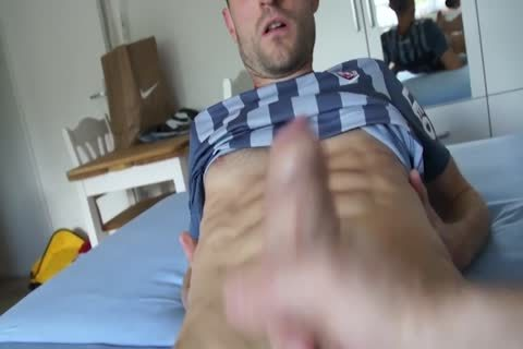 Jerking His Large lusty ramrod
