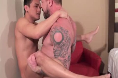 oriental Daddy ass sex With ball cream flow