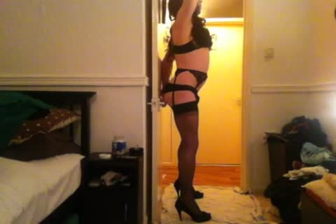 Seamed stockings, fake penis And humongous sperm.