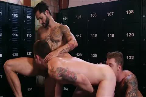 three dirty Hunks bang in nature's garb In A Locker Room