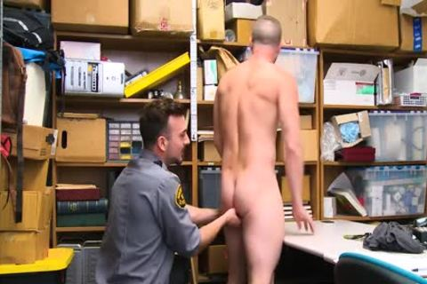 Shoplifting fellow Takes penis Up His wazoo And Down His throat