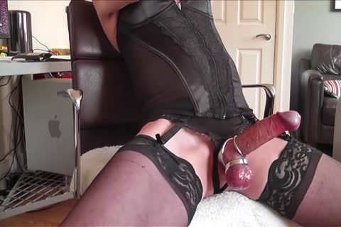 dark Corset, nylons, metallic Rings And sperm