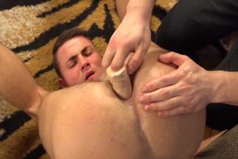 Homosexual giant darksome dildo anal loose arsehole