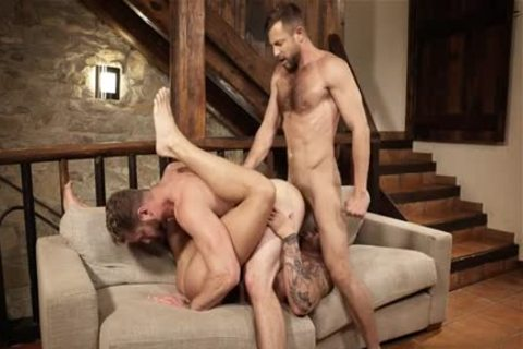 Muscle homosexual trio With Creampie
