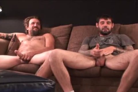 two coarse hairy Straight Redneck Stroking jointly