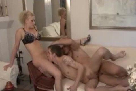 blonde cutie And gay pair Play On Sofa