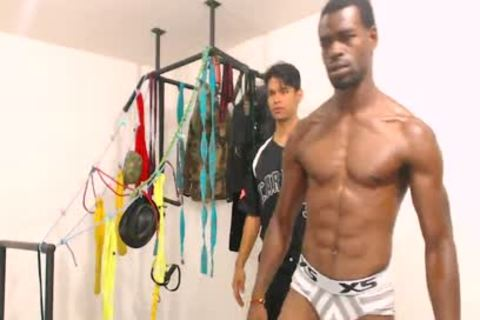 Tairon And Alexandro - Flirt4Free - black fellow In Army Garb Flexes while Latino Buddy Gives Him A Hard cook jerking