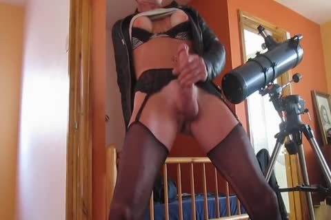 bawdy older Sissy Wanks And Cums In Fake bazookas And Suspender