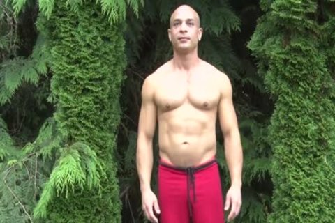 slutty Bald Muscle chap Shows Off His 9-inch Sausage