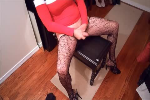 SL4UA Holly Cums Hard In Red dress Patterned stockings