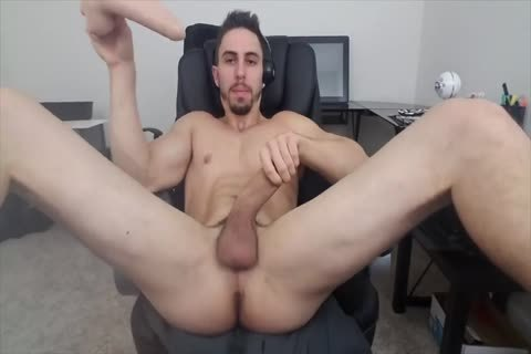 Stretching His aperture With A dildo