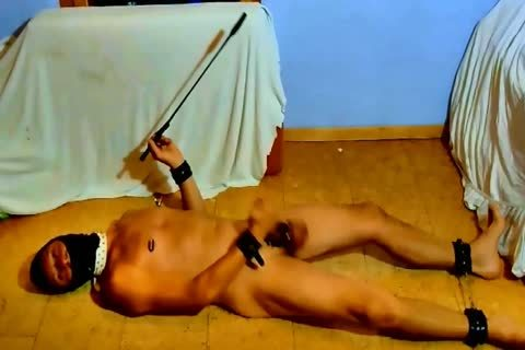 bare serf bdsm CBT spanking Whipping Himself