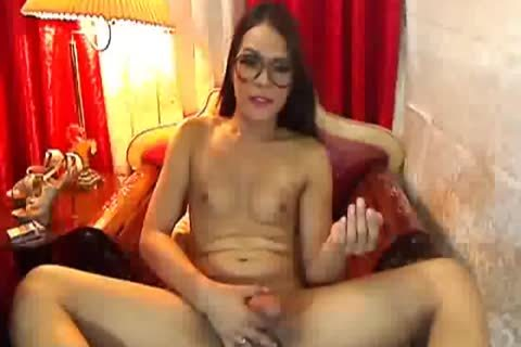 Nerd sheboy With massive penis On cam