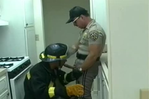 Police Office And Fireman Do messy Things In The Kitchen