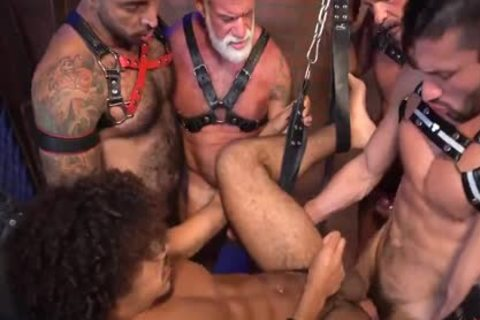 Dereks Leather Daddy bunch gang-sex Pt 2