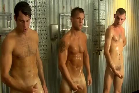 Straight men Jerking together In Groupshower