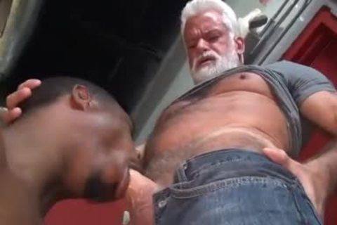 JAKE-SILVER DADDY THE BARBER poke HIS darksome gap