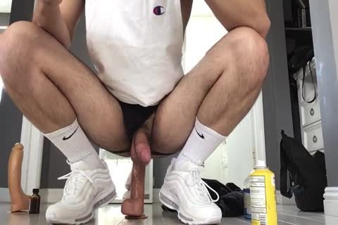 hammering My Arab Otter gap With Two Monster Dildos Wearing White Gym Crew Socks