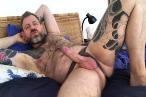 Daddy Jerks Off With A sex tool