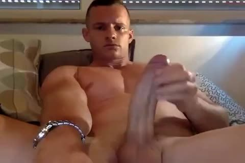 tasty bald Muscle Hunk Stroking His biggest schlong