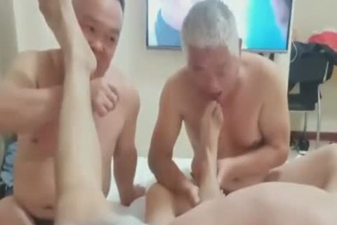 Three older Chinese men Have Sex