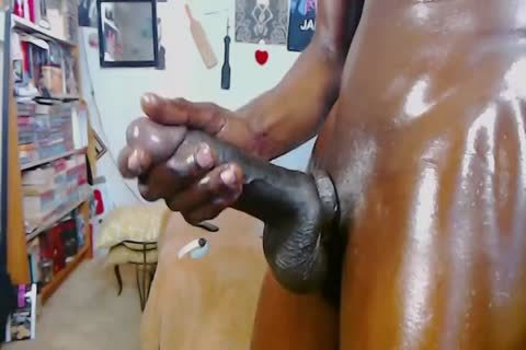 darksome homo lad With Monster 10-Pounder - Oil Jerkoff And massive cum